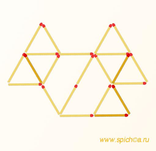 Добавить 4 спички - 9 треугольников - решение