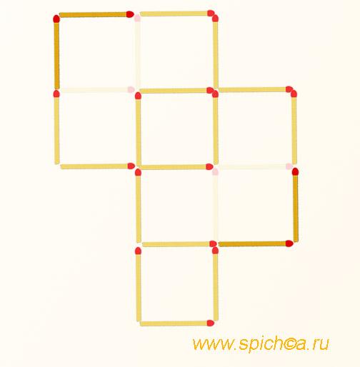 Переложить 4 спички - 4 квадрата - решение