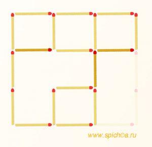 Переложите 3 спички - 5 квадратов - решение