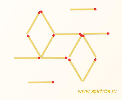 Переложить 3 спички - 6 треугольников