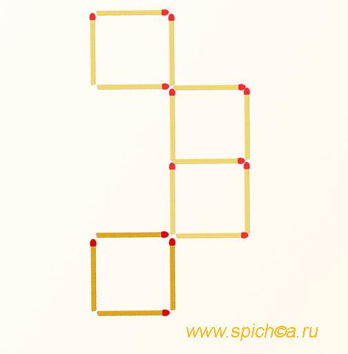 Добавить 4 спички - четыре квадрата - решение