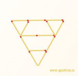 Переложите 6 спичек - 2 треугольника