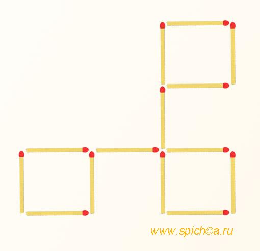 Переложите 2 спички - 4 квадрата