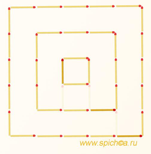Переложите 3 спички - 3 квадрата - решение