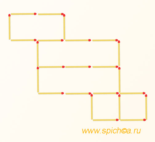 Переложить 3 спички - 6 квадратов