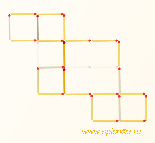 Переложить 3 спички - 6 квадратов - решение