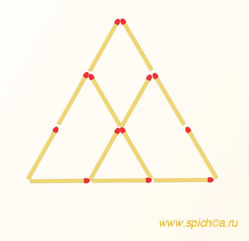Добавьте 4 спички - 7 треугольников