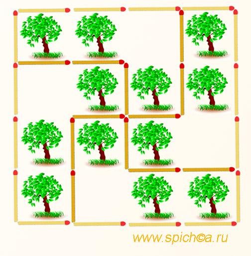 Разделите сад на 4 равных части - решение