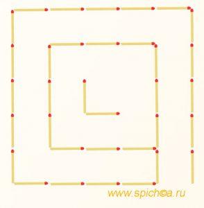 Переложите 2 спички - три квадрата