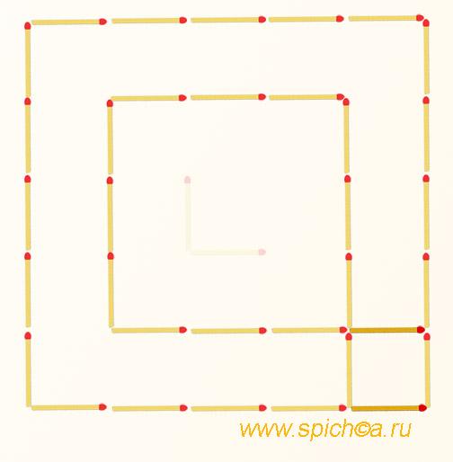 Переложите 2 спички - три квадрата - решение