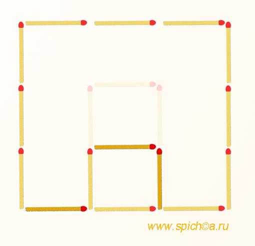 Переложите 3 спички - два квадрата - решение