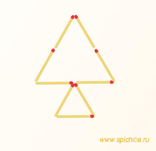 Добавить 4 спички - шесть треугольников