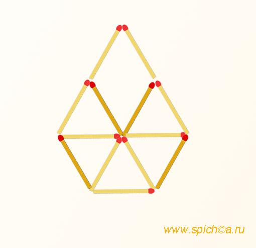 Добавить 4 спички - шесть треугольников - решение