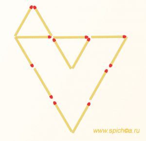 Добавить 3 спички - пять треугольников