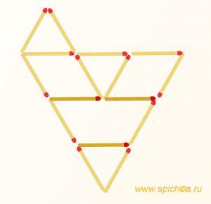 Добавить 3 спички - пять треугольников - решение