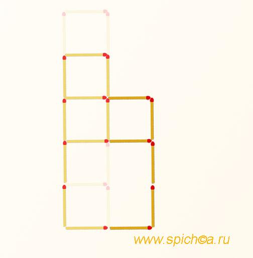 Переложить 6 спичек - четыре квадрата - решение