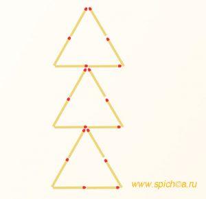 Переложите 6 спичек - 10 треугольников