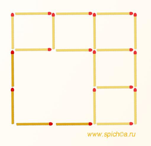 Добавьте 4 спички - семь квадратов - решение