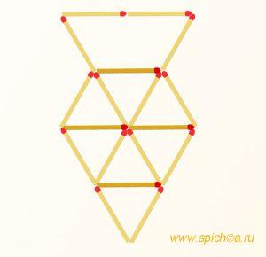 Добавьте 4 спички - девять треугольников - решение
