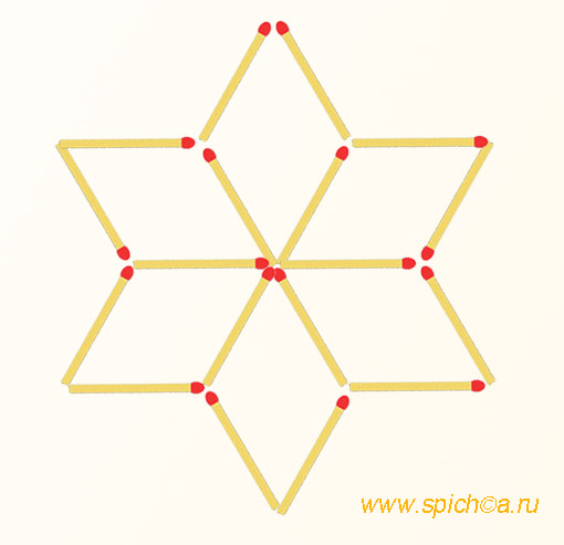 Переложить 6 спичек - восемь треугольников