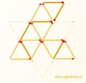 Переложить 6 спичек - восемь треугольников - решение