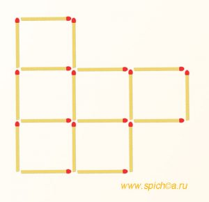 Убрать 2 спички - четыре квадрата