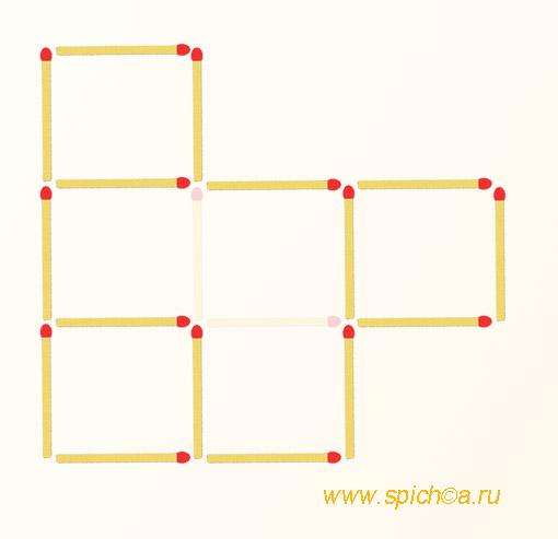 Убрать 2 спички - четыре квадрата - решение