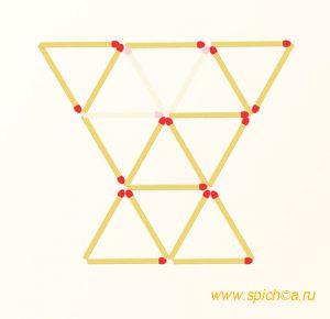 Убрать 3 спички - девять треугольников - решение