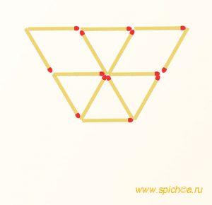 Переложите 4 спички - пять треугольников