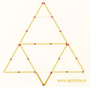 Переложите 2 спички - четыре треугольника - решение