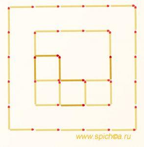 Добавьте 6 спичек - шесть квадратов - решение