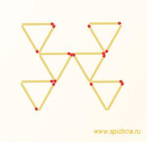 Добавить 4 спички - десять треугольников