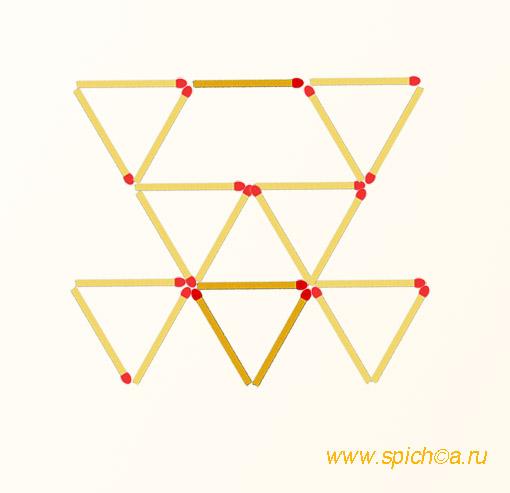 Добавить 4 спички - десять треугольников - решение