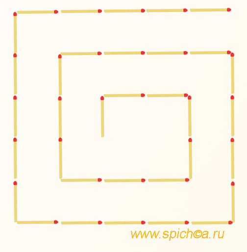 Переложить 4 спички - три квадрата