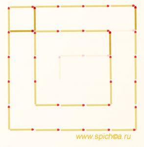 Переложить 4 спички - три квадрата - решение