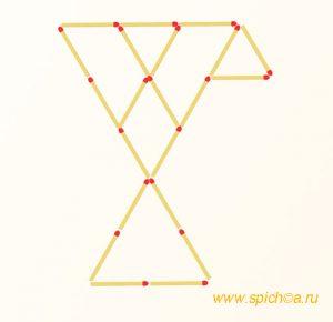 Переложите 6 спичек - пять треугольников