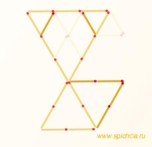 Переложите 6 спичек - пять треугольников - решение