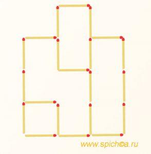 Переложить 4 спички - девять квадратов