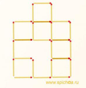 Переложить 4 спички - девять квадратов - решение