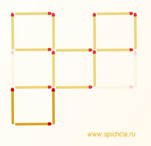 Переложить 3 спички - четыре квадрата - решение