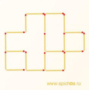 Переложить 2 спички - шесть квадратов