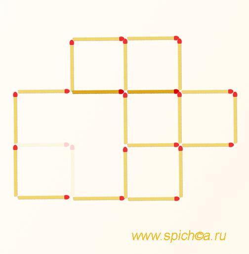 Переложить 2 спички - шесть квадратов - решение