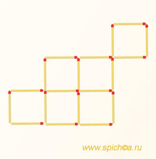Переложите 2 спички - пять квадратов