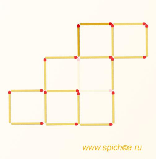 Переложите 2 спички - пять квадратов - решение