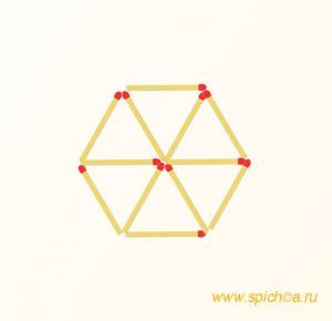 Переложить 4 спички - четыре треугольника