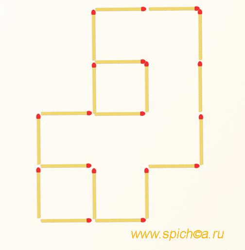 Переложите 2 спички - четыре квадрата
