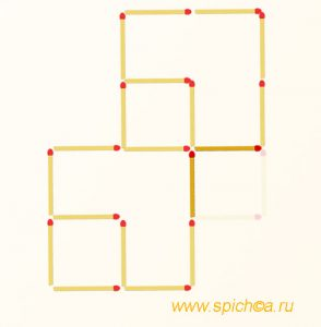 Переложите 2 спички - четыре квадрата - решение