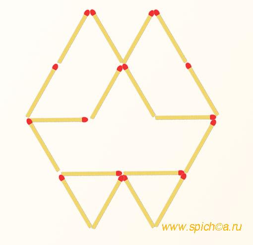 Добавьте 3 спички - восемь треугольников