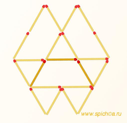 Добавьте 3 спички - восемь треугольников - решение