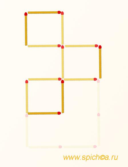 Переложите 5 спички - три квадрата - решение